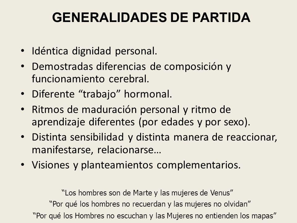 GENERALIDADES DE PARTIDA Idéntica dignidad personal. Demostradas diferencias de composición y funcionamiento cerebral. Diferente trabajo hormonal. Rit