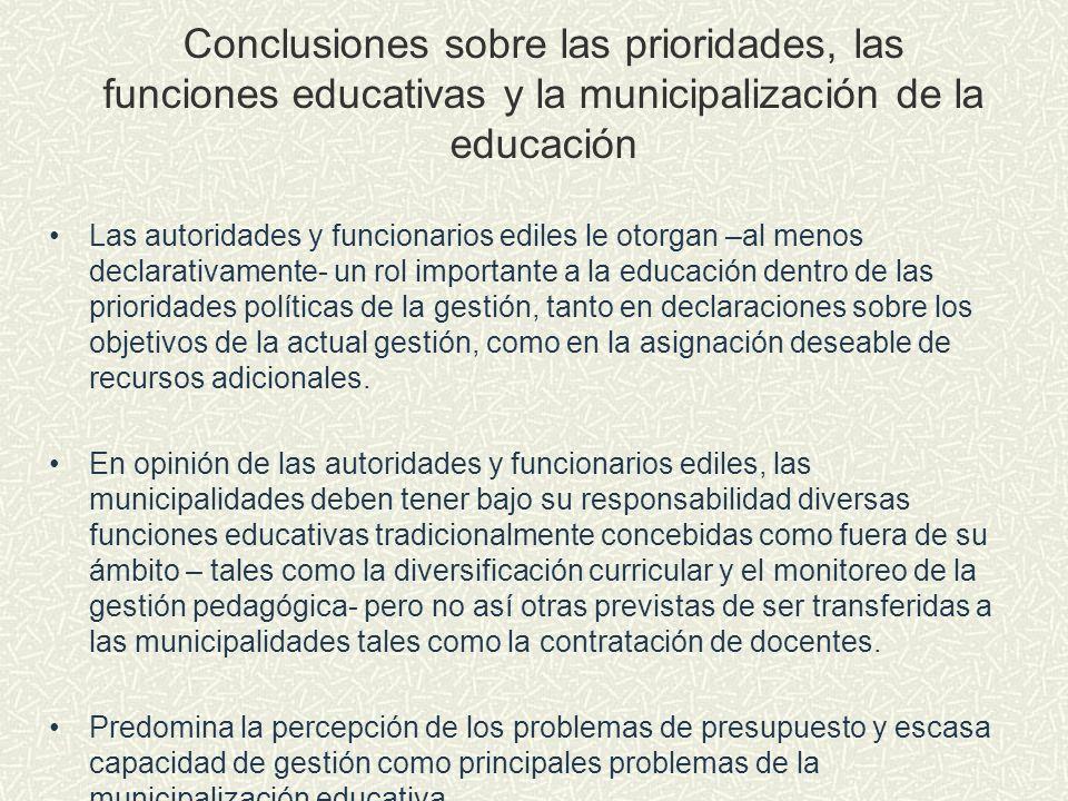 Conclusiones sobre las prioridades, las funciones educativas y la municipalización de la educación Las autoridades y funcionarios ediles le otorgan –a