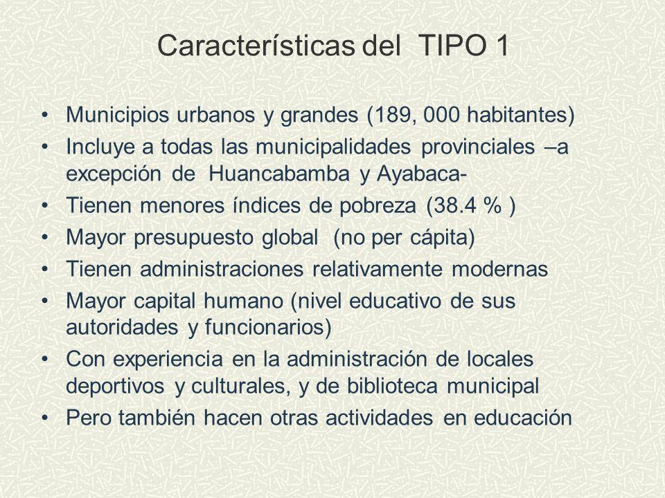 Características del TIPO 1 Municipios urbanos y grandes (189, 000 habitantes) Incluye a todas las municipalidades provinciales –a excepción de Huancab