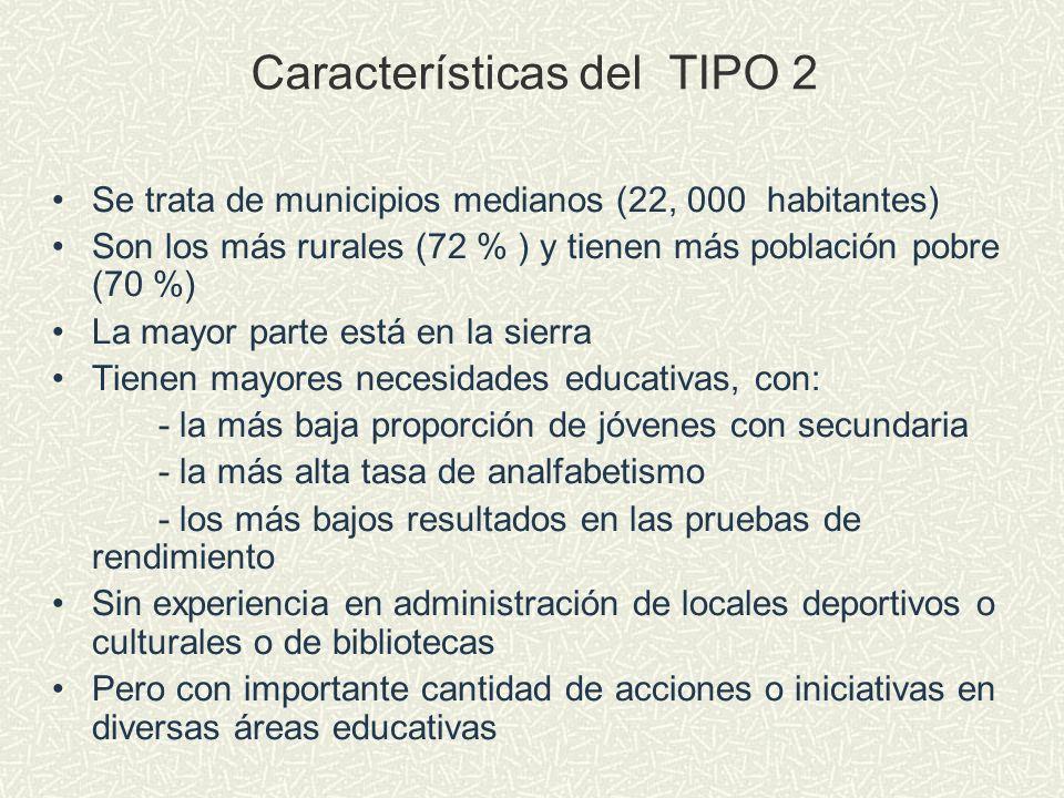 Características del TIPO 2 Se trata de municipios medianos (22, 000 habitantes) Son los más rurales (72 % ) y tienen más población pobre (70 %) La may
