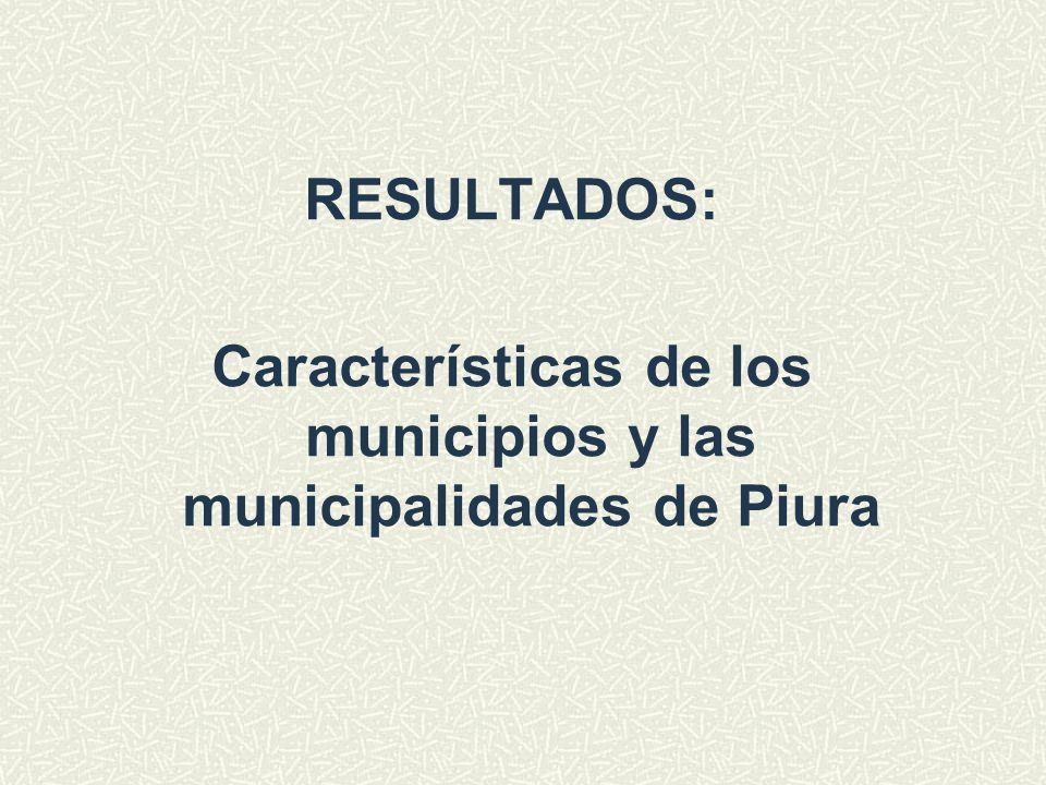 RESULTADOS: Características de los municipios y las municipalidades de Piura