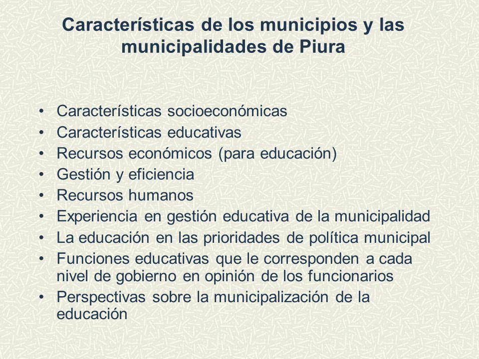 Características socioeconómicas Características educativas Recursos económicos (para educación) Gestión y eficiencia Recursos humanos Experiencia en g