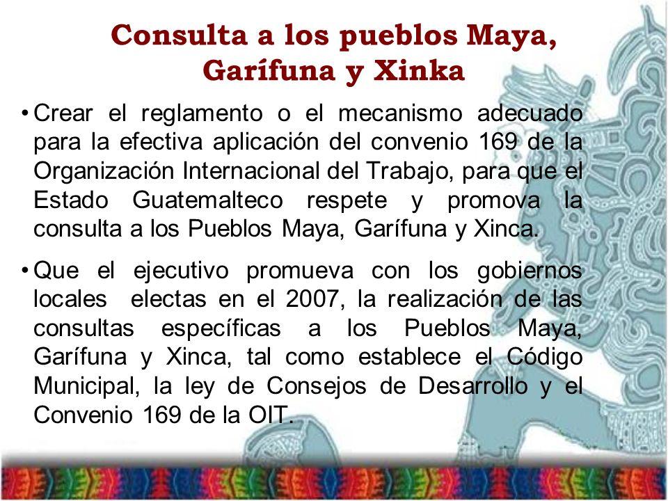 Consulta a los pueblos Maya, Garífuna y Xinka Crear el reglamento o el mecanismo adecuado para la efectiva aplicación del convenio 169 de la Organizac