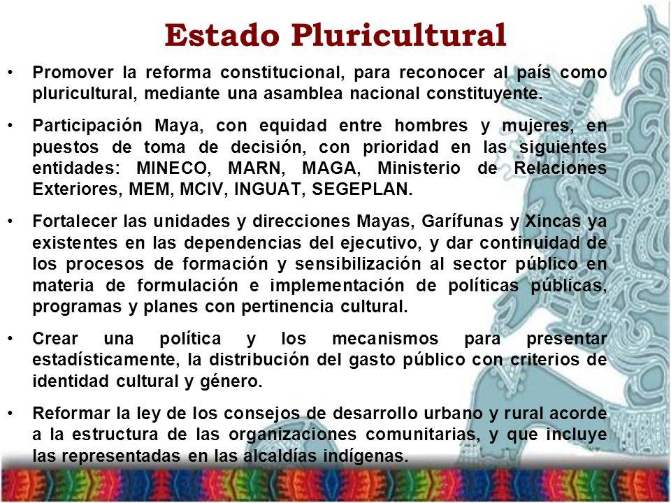 Estado Pluricultural Promover la reforma constitucional, para reconocer al país como pluricultural, mediante una asamblea nacional constituyente.