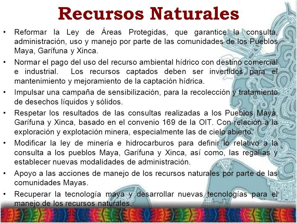 Recursos Naturales Reformar la Ley de Áreas Protegidas, que garantice la consulta, administración, uso y manejo por parte de las comunidades de los Pueblos Maya, Garífuna y Xinca.