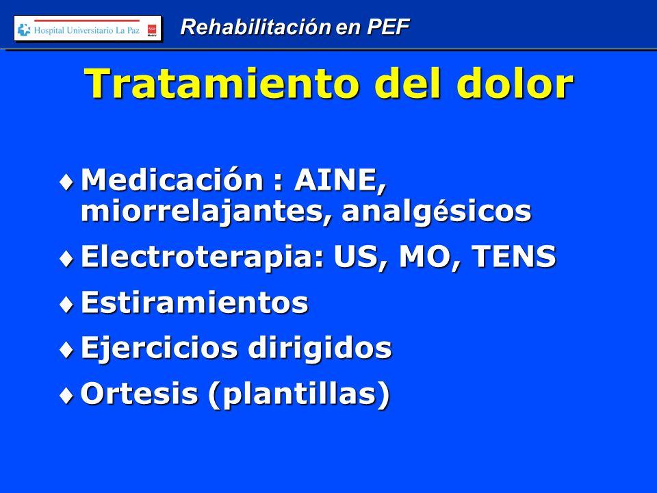 Rehabilitación en PEF Tratamiento del dolor Medicación : AINE, miorrelajantes, analg é sicosMedicación : AINE, miorrelajantes, analg é sicos Electroterapia: US, MO, TENSElectroterapia: US, MO, TENS EstiramientosEstiramientos Ejercicios dirigidosEjercicios dirigidos Ortesis (plantillas)Ortesis (plantillas)