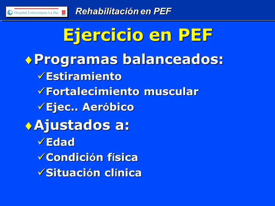 Rehabilitación en PEF Ejercicio en PEF Programas balanceados:Programas balanceados: Estiramiento Estiramiento Fortalecimiento muscular Fortalecimiento muscular Ejec..