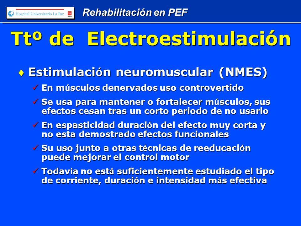 Rehabilitación en PEF Ttº de Electroestimulación Estimulaci ó n neuromuscular (NMES)Estimulaci ó n neuromuscular (NMES) En m ú sculos denervados uso controvertido En m ú sculos denervados uso controvertido Se usa para mantener o fortalecer m ú sculos, sus efectos cesan tras un corto periodo de no usarlo Se usa para mantener o fortalecer m ú sculos, sus efectos cesan tras un corto periodo de no usarlo En espasticidad duraci ó n del efecto muy corta y no esta demostrado efectos funcionales En espasticidad duraci ó n del efecto muy corta y no esta demostrado efectos funcionales Su uso junto a otras t é cnicas de reeducaci ó n puede mejorar el control motor Su uso junto a otras t é cnicas de reeducaci ó n puede mejorar el control motor Todav í a no est á suficientemente estudiado el tipo de corriente, duraci ó n e intensidad m á s efectiva Todav í a no est á suficientemente estudiado el tipo de corriente, duraci ó n e intensidad m á s efectiva