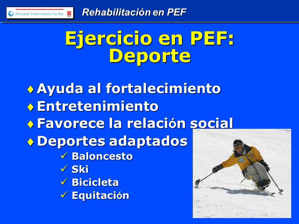 Rehabilitación en PEF Ejercicio en PEF: Deporte Ayuda al fortalecimientoAyuda al fortalecimiento EntretenimientoEntretenimiento Favorece la relaci ó n socialFavorece la relaci ó n social Deportes adaptadosDeportes adaptados Baloncesto Baloncesto Ski Ski Bicicleta Bicicleta Equitaci ó n Equitaci ó n