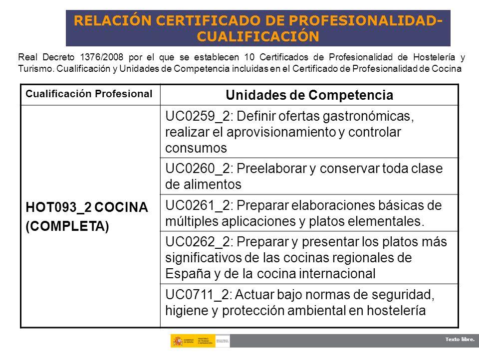 Texto libre. RELACIÓN CERTIFICADO DE PROFESIONALIDAD- CUALIFICACIÓN Cualificación Profesional Unidades de Competencia HOT093_2 COCINA (COMPLETA) UC025