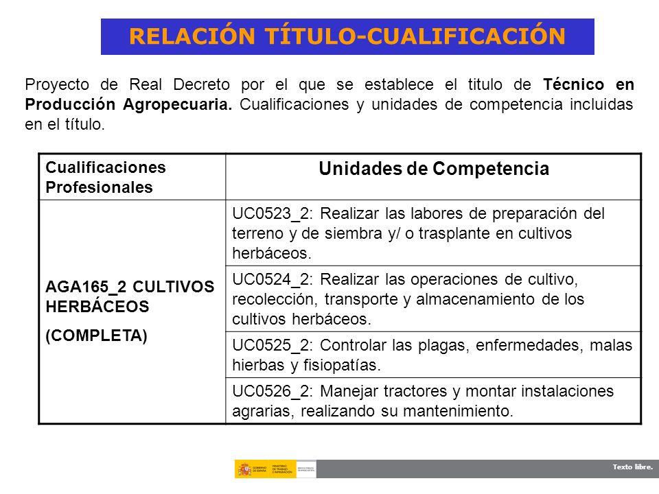Texto libre. RELACIÓN TÍTULO-CUALIFICACIÓN Cualificaciones Profesionales Unidades de Competencia AGA165_2 CULTIVOS HERBÁCEOS (COMPLETA) UC0523_2: Real