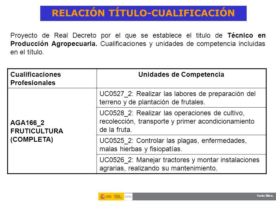 Texto libre. RELACIÓN TÍTULO-CUALIFICACIÓN Cualificaciones Profesionales Unidades de Competencia AGA166_2 FRUTICULTURA (COMPLETA) UC0527_2: Realizar l