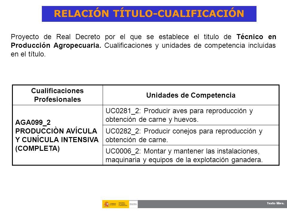 Texto libre. RELACIÓN TÍTULO-CUALIFICACIÓN Cualificaciones Profesionales Unidades de Competencia AGA099_2 PRODUCCIÒN AVÍCULA Y CUNÍCULA INTENSIVA (COM