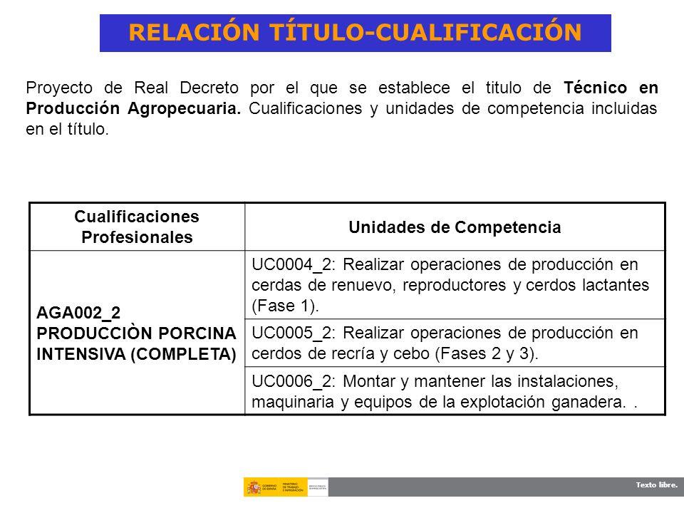 Texto libre. RELACIÓN TÍTULO-CUALIFICACIÓN Cualificaciones Profesionales Unidades de Competencia AGA002_2 PRODUCCIÒN PORCINA INTENSIVA (COMPLETA) UC00