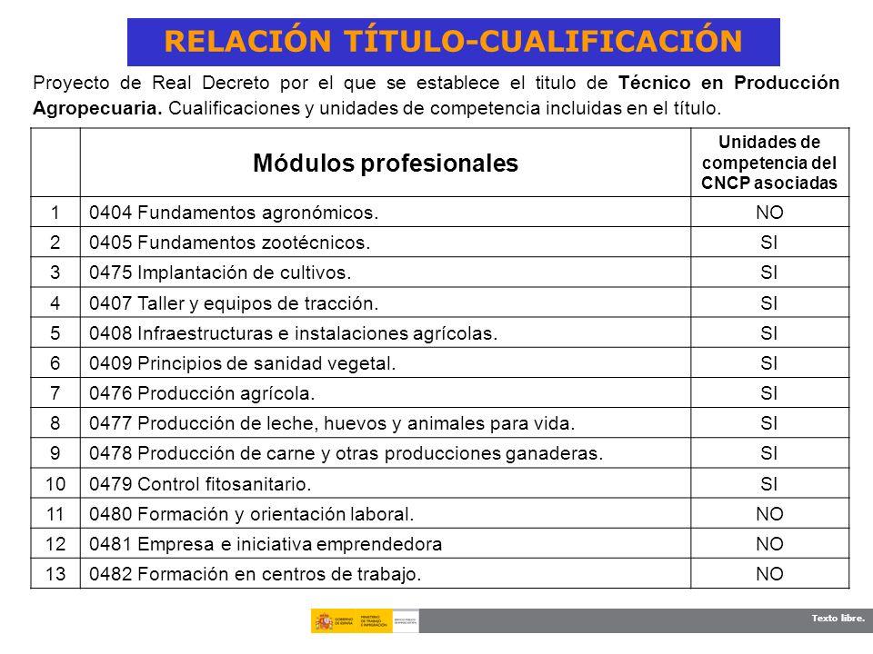 Texto libre. Proyecto de Real Decreto por el que se establece el titulo de Técnico en Producción Agropecuaria. Cualificaciones y unidades de competenc