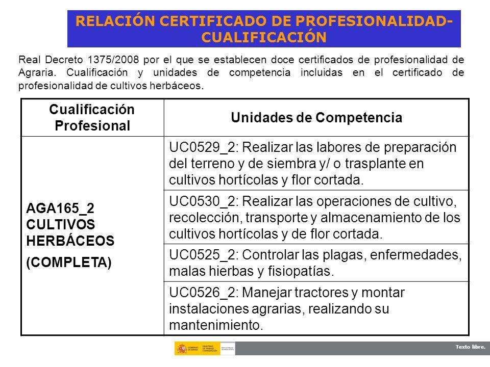 Texto libre. RELACIÓN CERTIFICADO DE PROFESIONALIDAD- CUALIFICACIÓN Cualificación Profesional Unidades de Competencia AGA165_2 CULTIVOS HERBÁCEOS (COM