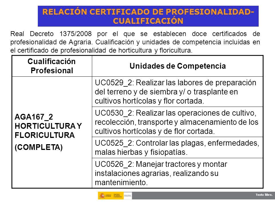 Texto libre. RELACIÓN CERTIFICADO DE PROFESIONALIDAD- CUALIFICACIÓN Cualificación Profesional Unidades de Competencia AGA167_2 HORTICULTURA Y FLORICUL