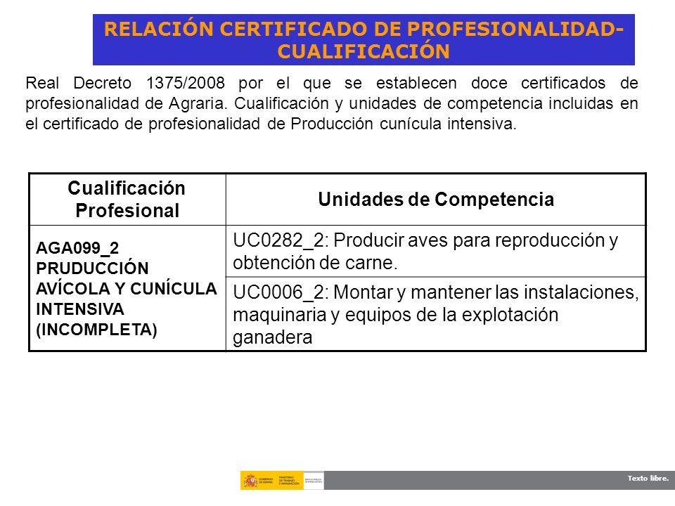 Texto libre. RELACIÓN CERTIFICADO DE PROFESIONALIDAD- CUALIFICACIÓN Cualificación Profesional Unidades de Competencia AGA099_2 PRUDUCCIÓN AVÍCOLA Y CU