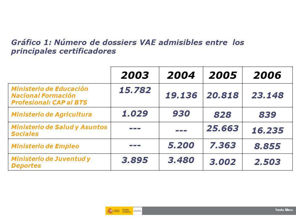 Texto libre. Gráfico 1: Número de dossiers VAE admisibles entre los principales certificadores 2003200420052006 Ministerio de Educación Nacional Forma