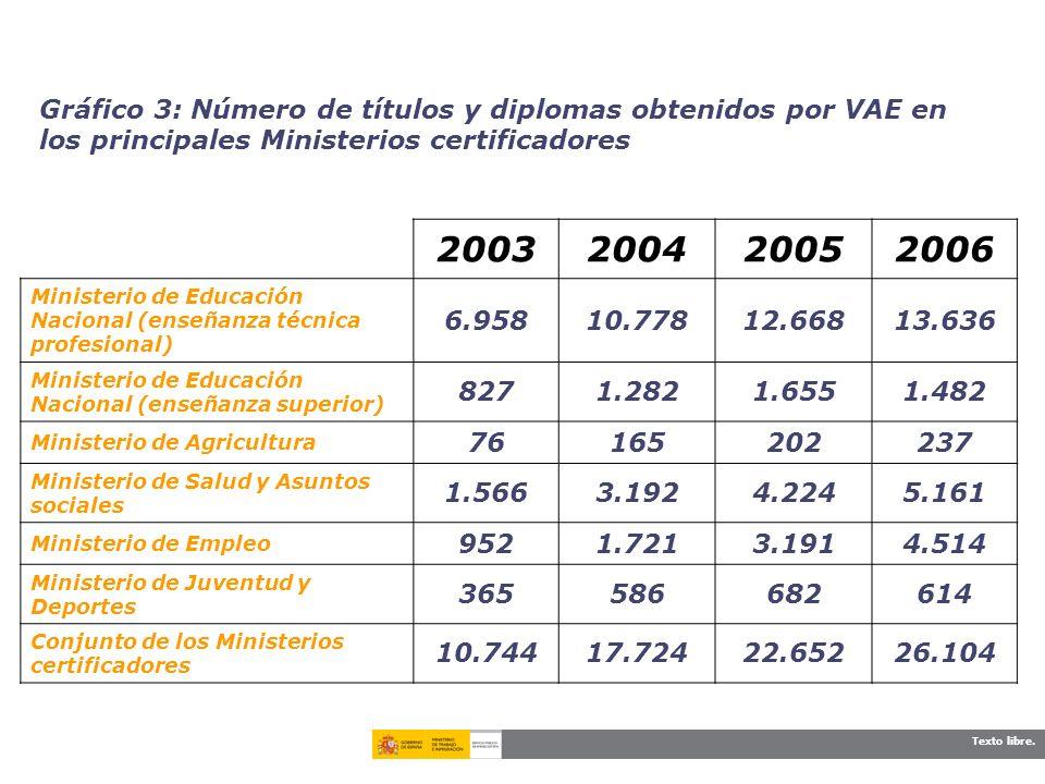 Texto libre. Gráfico 3: Número de títulos y diplomas obtenidos por VAE en los principales Ministerios certificadores 2003200420052006 Ministerio de Ed