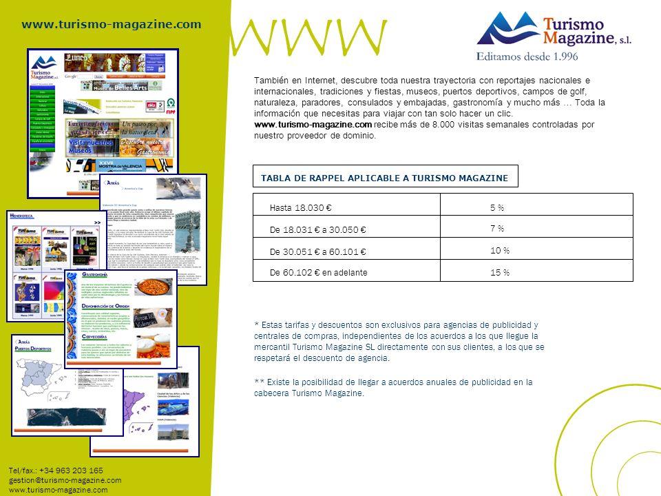 TABLA DE RAPPEL APLICABLE A TURISMO MAGAZINE Hasta 18.030 De 30.051 a 60.101 De 18.031 a 30.050 De 60.102 en adelante 5 % 7 % 10 % 15 % Tel/fax.: +34 963 203 165 gestion@turismo-magazine.com www.turismo-magazine.com * Estas tarifas y descuentos son exclusivos para agencias de publicidad y centrales de compras, independientes de los acuerdos a los que llegue la mercantil Turismo Magazine SL directamente con sus clientes, a los que se respetará el descuento de agencia.