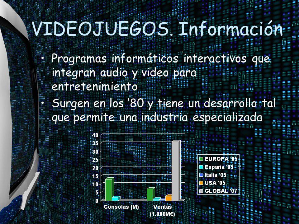 VIDEOJUEGOS. Información Programas informáticos interactivos que integran audio y video para entretenimiento Surgen en los 80 y tiene un desarrollo ta