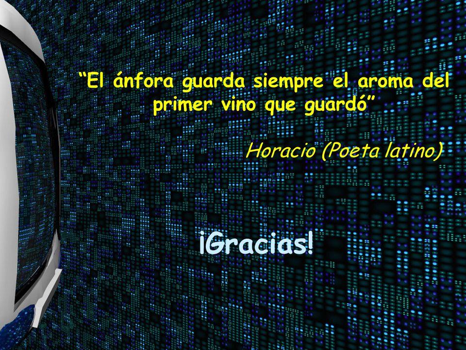 ¡Gracias! El ánfora guarda siempre el aroma del primer vino que guardó Horacio (Poeta latino)