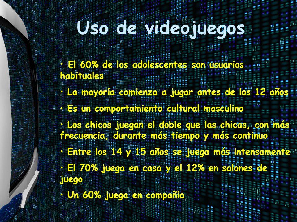 Uso de videojuegos El 60% de los adolescentes son usuarios habituales La mayoría comienza a jugar antes de los 12 años Es un comportamiento cultural m