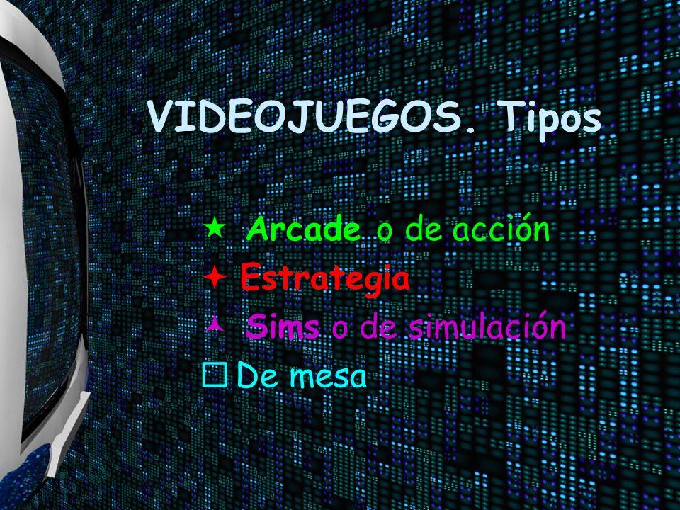 VIDEOJUEGOS. Tipos « Arcade o de acción ª Estrategia © Sims o de simulación ¨ De mesa