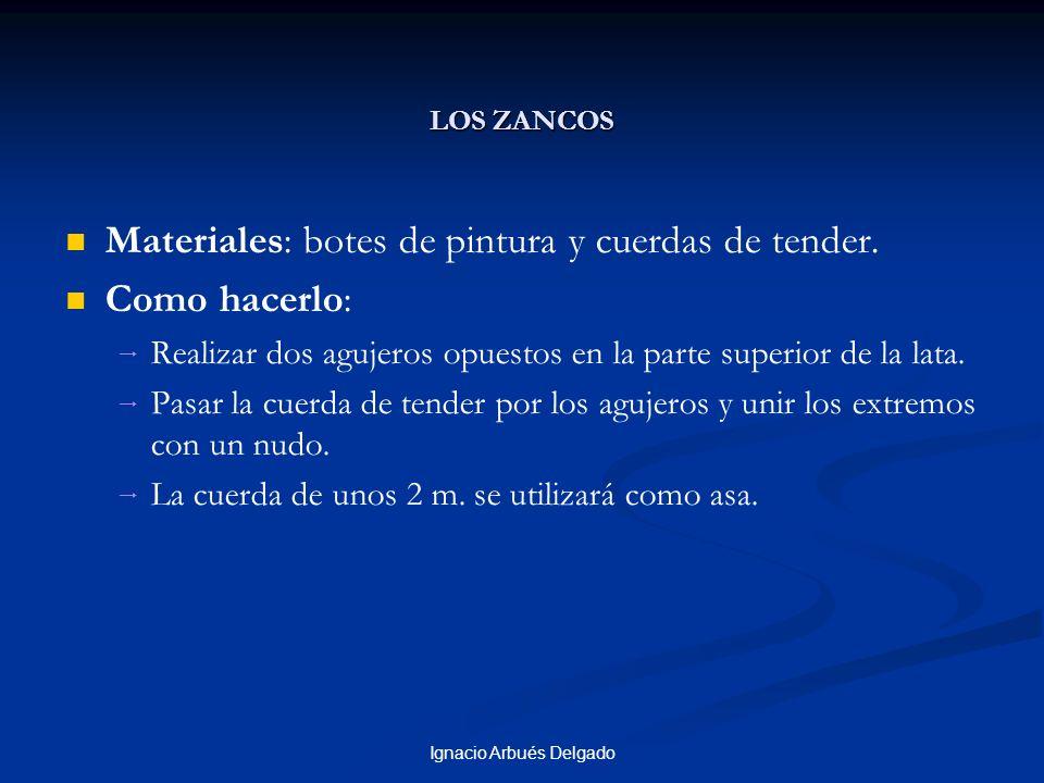Ignacio Arbués Delgado LOS ZANCOS Materiales: botes de pintura y cuerdas de tender. Como hacerlo: Realizar dos agujeros opuestos en la parte superior