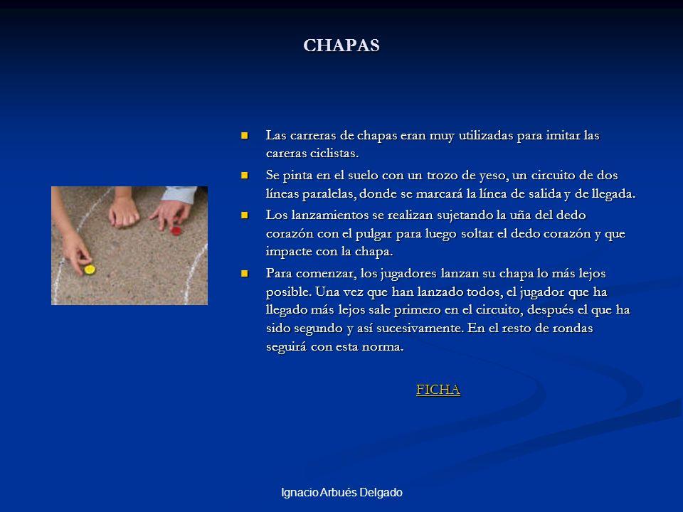 Ignacio Arbués Delgado CHAPAS Las carreras de chapas eran muy utilizadas para imitar las careras ciclistas. Se pinta en el suelo con un trozo de yeso,