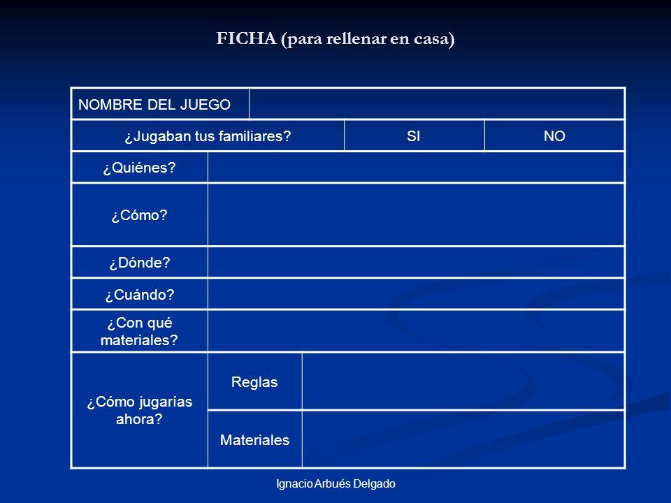 Ignacio Arbués Delgado FICHA (para rellenar en casa) NOMBRE DEL JUEGO ¿Jugaban tus familiares?SINO ¿Quiénes? ¿Cómo? ¿Dónde? ¿Cuándo? ¿Con qué material