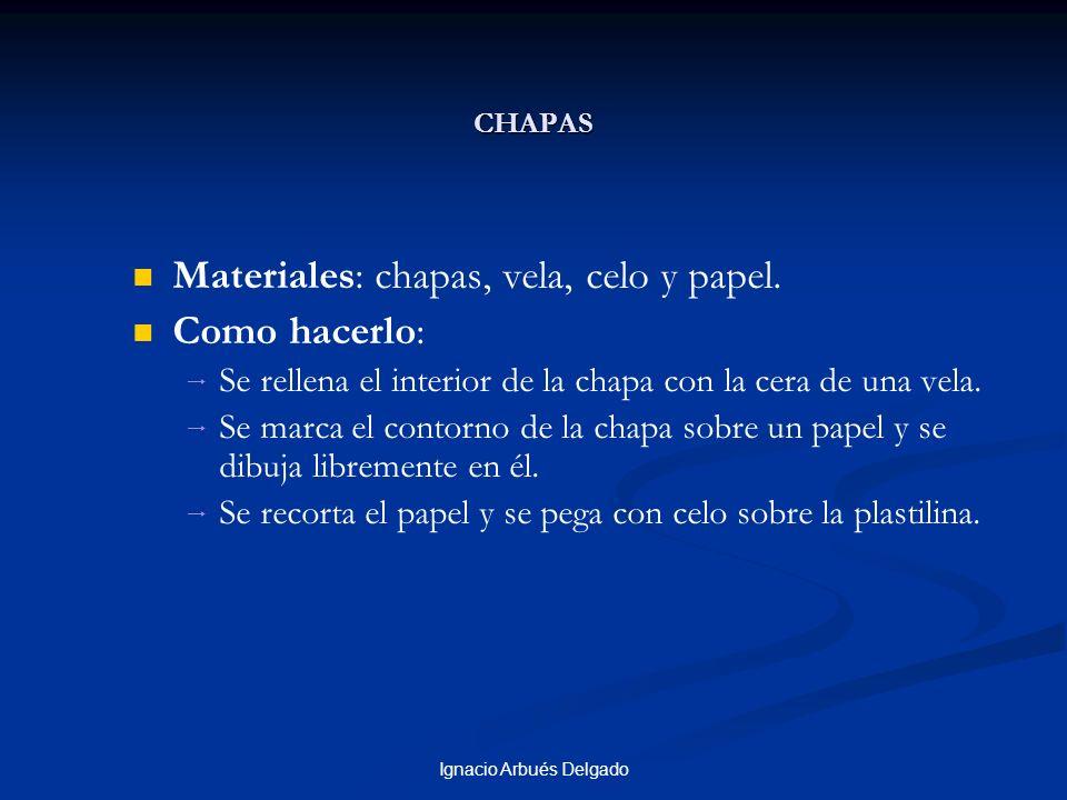 Ignacio Arbués Delgado CHAPAS Materiales: chapas, vela, celo y papel. Como hacerlo: Se rellena el interior de la chapa con la cera de una vela. Se mar