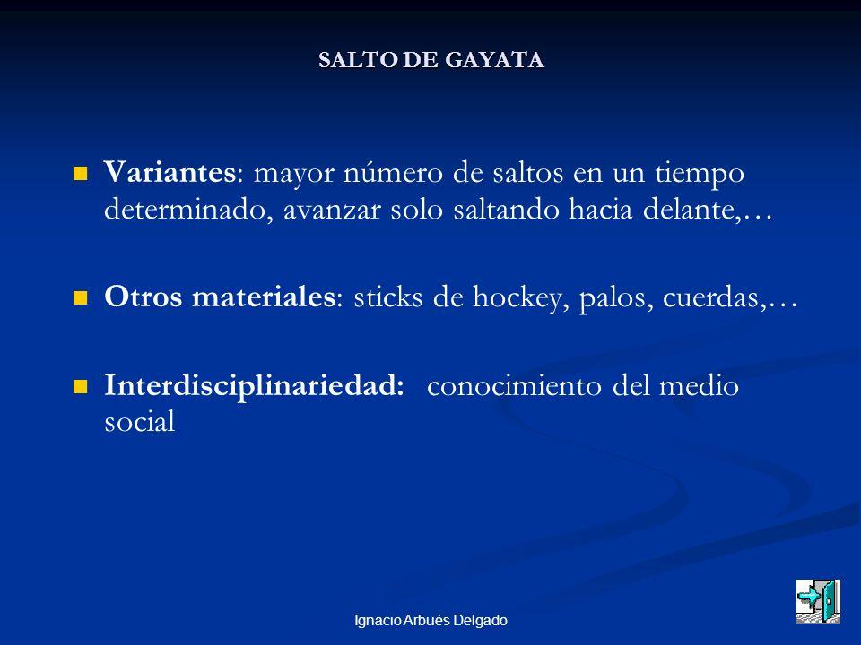 Ignacio Arbués Delgado SALTO DE GAYATA Variantes: mayor número de saltos en un tiempo determinado, avanzar solo saltando hacia delante,… Otros materiales: sticks de hockey, palos, cuerdas,… Interdisciplinariedad: conocimiento del medio social