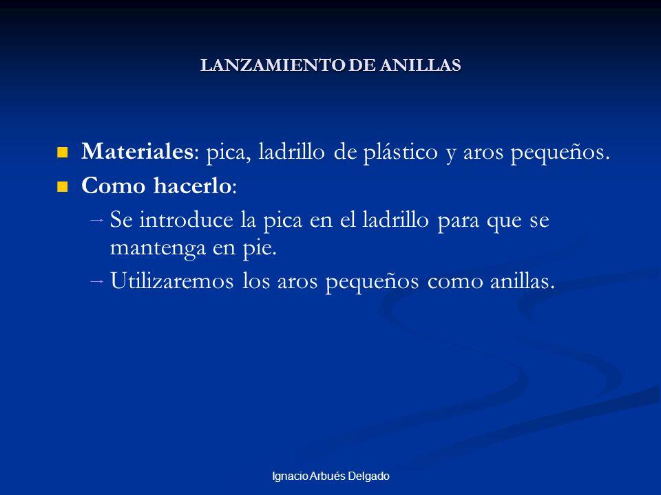 Ignacio Arbués Delgado LANZAMIENTO DE ANILLAS Materiales: pica, ladrillo de plástico y aros pequeños. Como hacerlo: Se introduce la pica en el ladrill