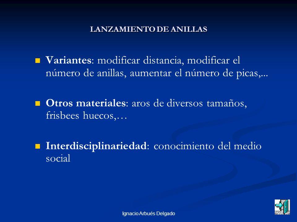 Ignacio Arbués Delgado LANZAMIENTO DE ANILLAS Variantes: modificar distancia, modificar el número de anillas, aumentar el número de picas,... Otros ma