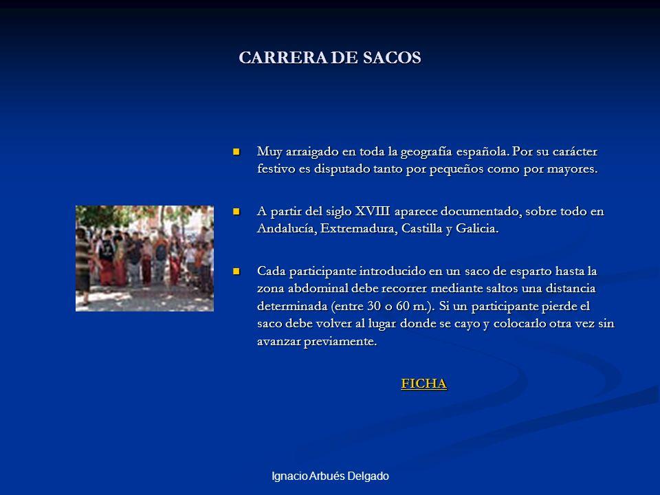 Ignacio Arbués Delgado CARRERA DE SACOS Muy arraigado en toda la geografía española. Por su carácter festivo es disputado tanto por pequeños como por