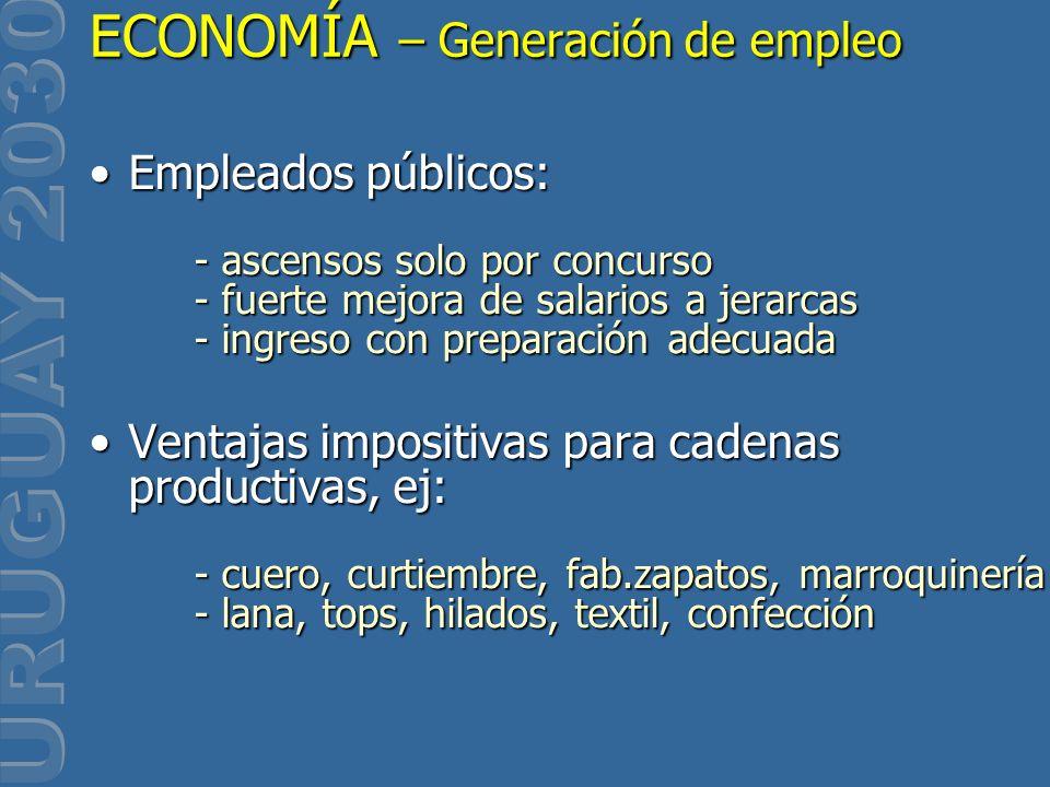 Empleados públicos: - ascensos solo por concurso - fuerte mejora de salarios a jerarcas - ingreso con preparación adecuadaEmpleados públicos: - ascens