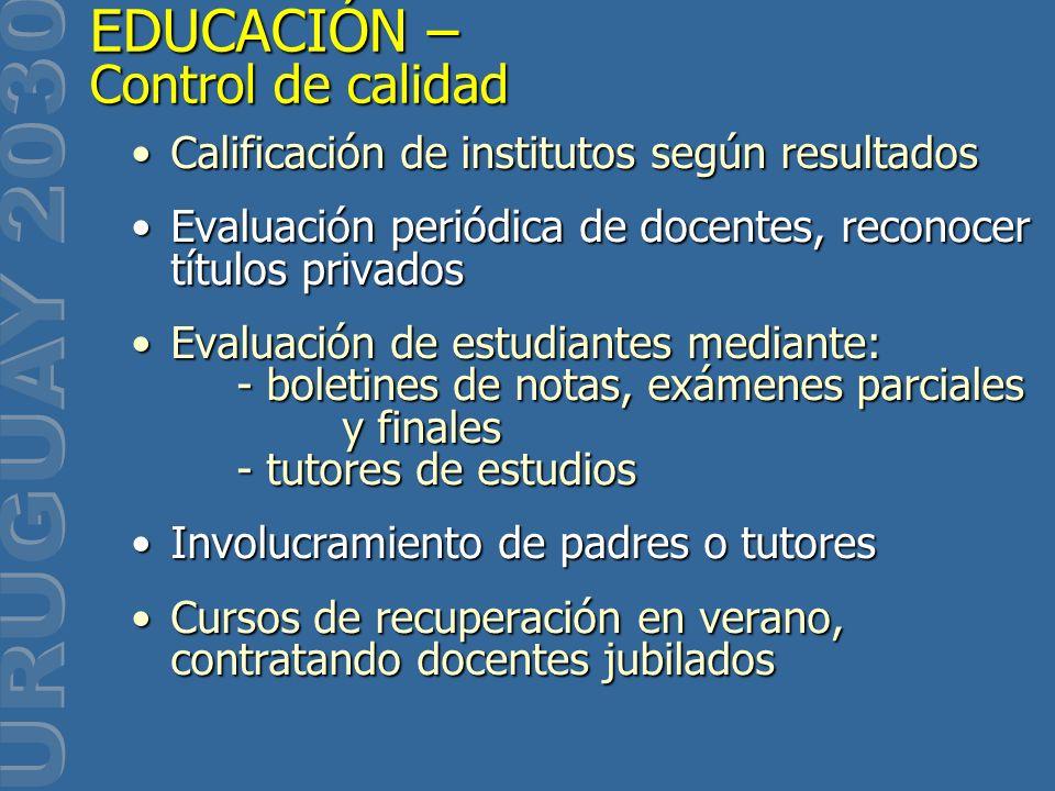 Calificación de institutos según resultadosCalificación de institutos según resultados Evaluación periódica de docentes, reconocer títulos privadosEva