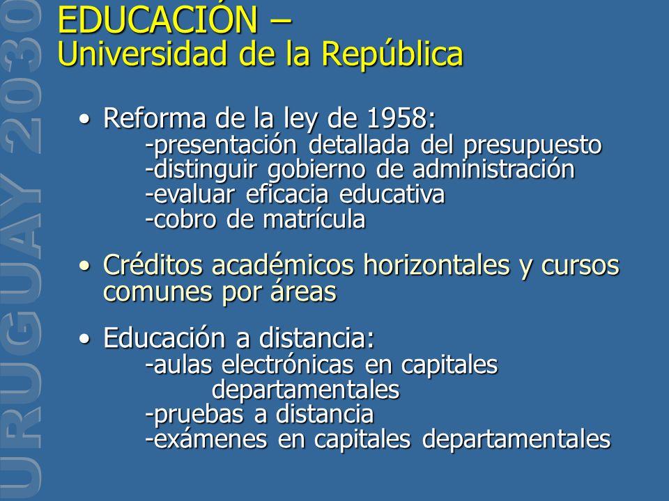 EDUCACIÓN – Universidad de la República Reforma de la ley de 1958: -presentación detallada del presupuesto -distinguir gobierno de administración -eva