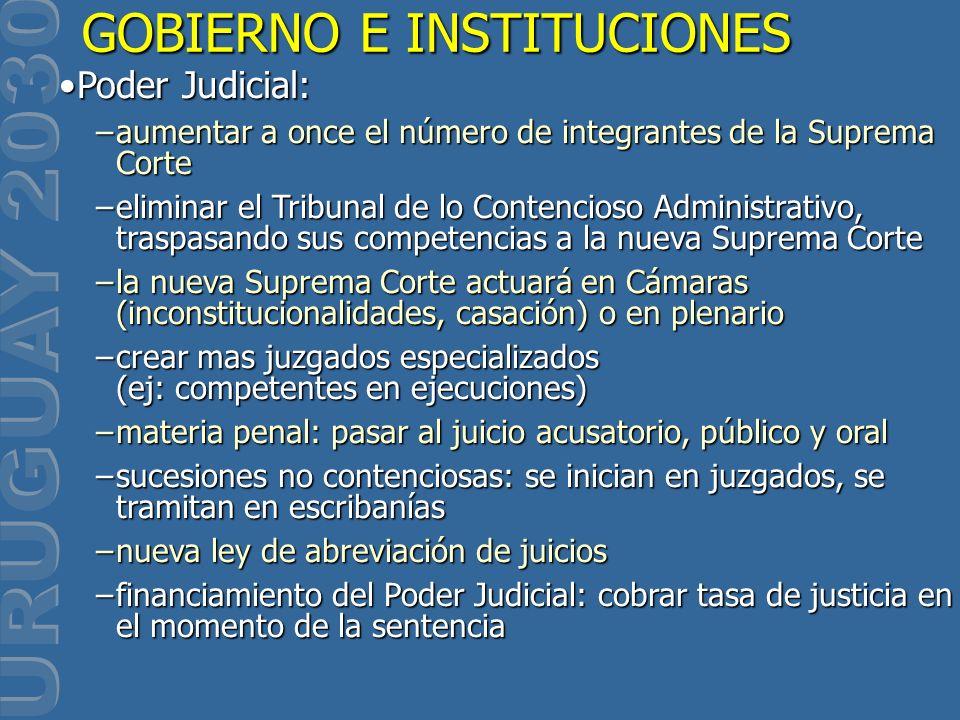 GOBIERNO E INSTITUCIONES Poder Judicial:Poder Judicial: –aumentar a once el número de integrantes de la Suprema Corte –eliminar el Tribunal de lo Cont