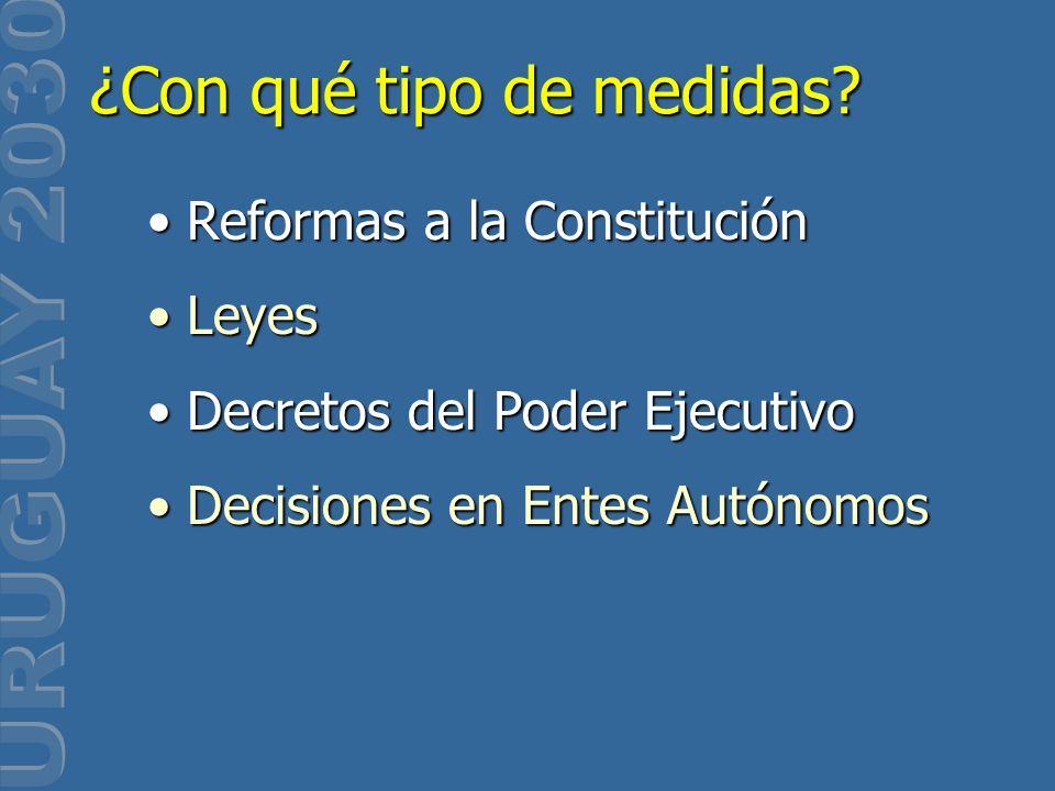 Reformas a la ConstituciónReformas a la Constitución LeyesLeyes Decretos del Poder EjecutivoDecretos del Poder Ejecutivo Decisiones en Entes Autónomos