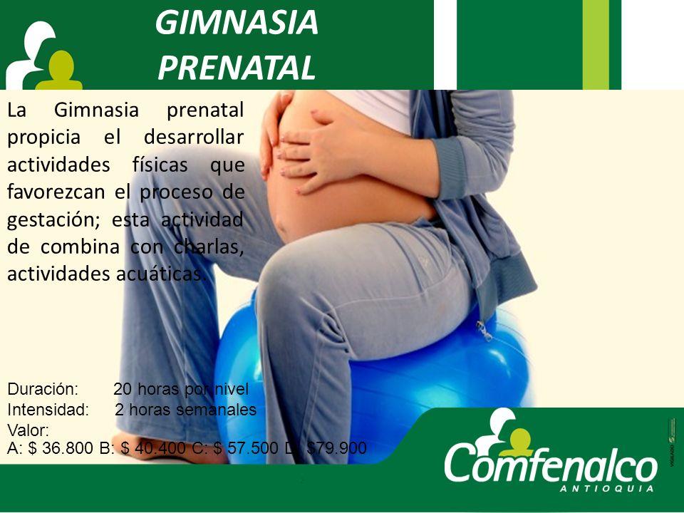 GIMNASIA PRENATAL La Gimnasia prenatal propicia el desarrollar actividades físicas que favorezcan el proceso de gestación; esta actividad de combina c