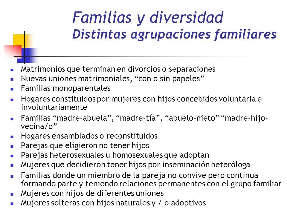 Familias y diversidad Distintas agrupaciones familiares Matrimonios que terminan en divorcios o separaciones Nuevas uniones matrimoniales, con o sin p
