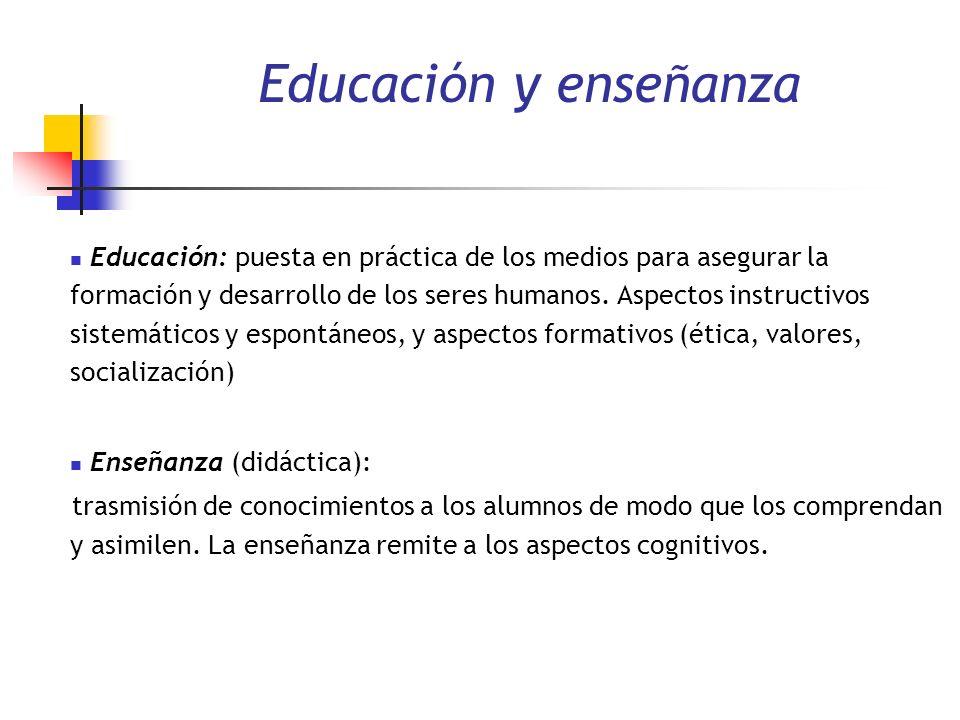 Educación y enseñanza Educación: puesta en práctica de los medios para asegurar la formación y desarrollo de los seres humanos. Aspectos instructivos