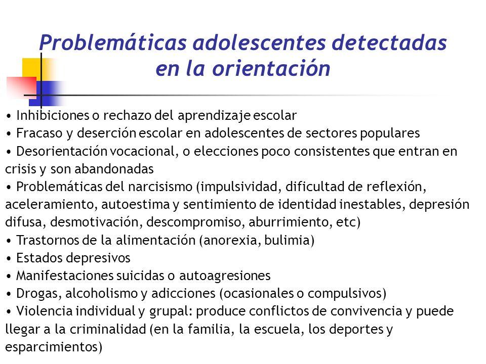 Problemáticas adolescentes detectadas en la orientación Inhibiciones o rechazo del aprendizaje escolar Fracaso y deserción escolar en adolescentes de