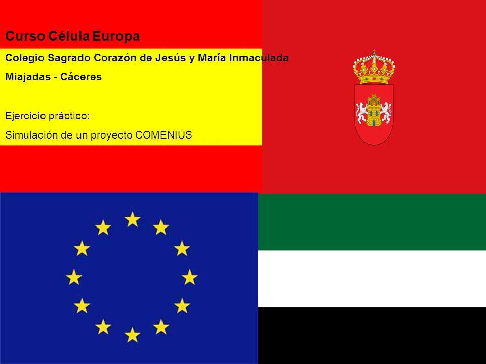 Curso Célula Europa Colegio Sagrado Corazón de Jesús y María Inmaculada Miajadas - Cáceres Ejercicio práctico: Simulación de un proyecto COMENIUS