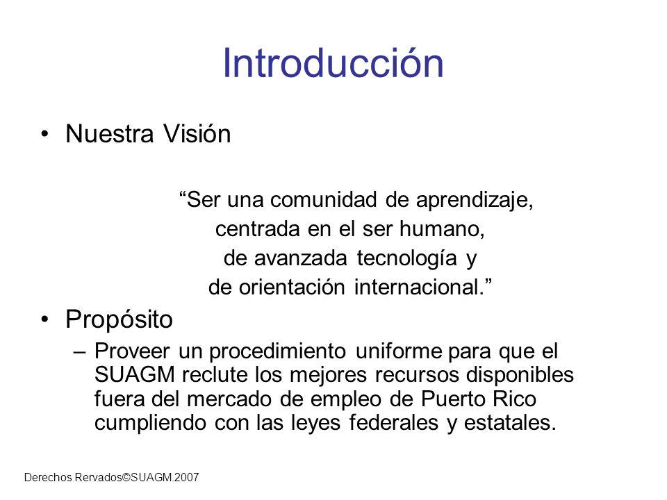Derechos Rervados©SUAGM.2007 Introducción Nuestra Visión Ser una comunidad de aprendizaje, centrada en el ser humano, de avanzada tecnología y de orie