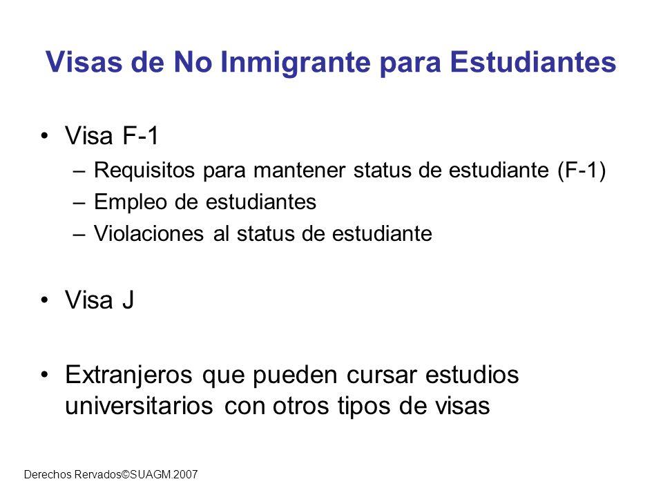 Derechos Rervados©SUAGM.2007 Visas de No Inmigrante para Estudiantes Visa F-1 –Requisitos para mantener status de estudiante (F-1) –Empleo de estudian