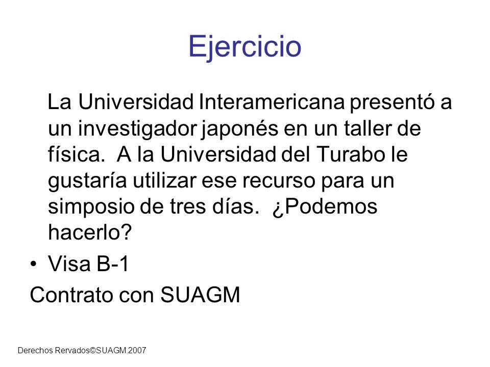 Derechos Rervados©SUAGM.2007 Ejercicio La Universidad Interamericana presentó a un investigador japonés en un taller de física. A la Universidad del T